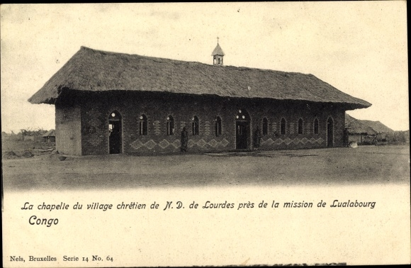 Ak Lualabourg Demokratische Republik Kongo Zaire, La Chapelle du village chretien de N.D. de Lourdes