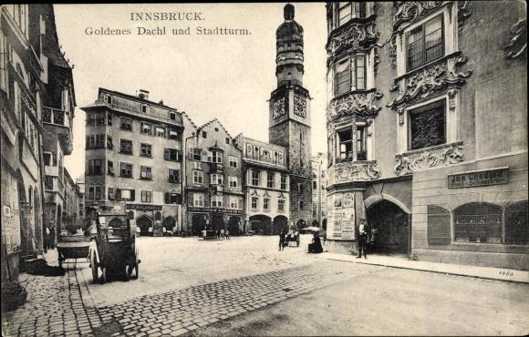 Ak Innsbruck in Tirol, Goldenes Dachl, Stadtturm, Geschäfte