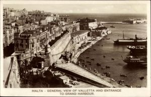 Ak Valletta Malta, general view and entrance to Grand Harbour