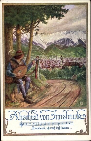 Künstler Lied Ak Innsbruck in Tirol, Abschied von Innsbruck, Troubadour, Partitur, Panorama vom Ort