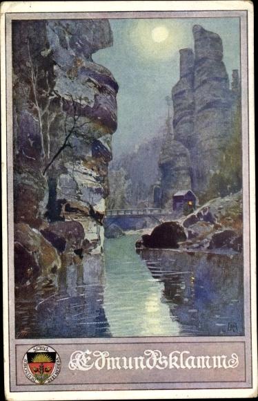 Künstler Mondschein Ak Ustecky kraj Region Aussig, Edmundsklamm