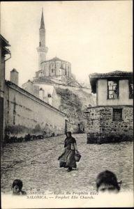 Ak Thessaloniki Griechenland, Eglise du Prophete Elie, porteuse en costume