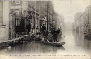 Ak Levallois Perret Hauts de Seine, Crue de la Seine 1910, Commissariat, Rue Rivay