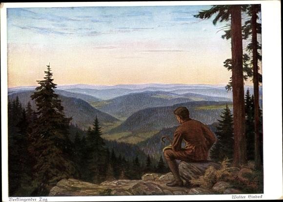 Künstler Ak Einbeck, Walter, Verklingender Tag, Landschaft, Berge, Mann