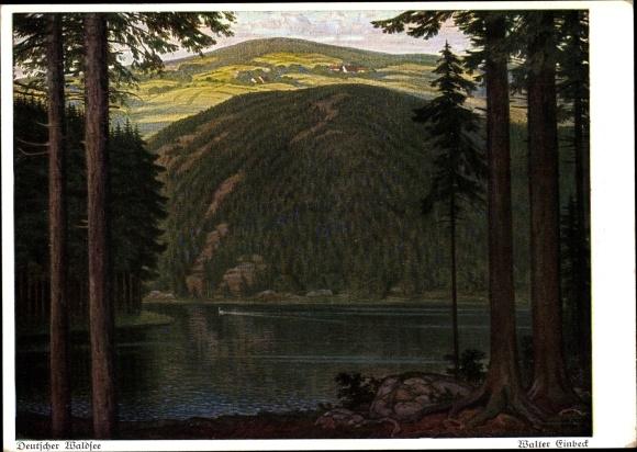 Künstler Ak Einbeck, Walter, Deutscher Waldsee, Landschaft