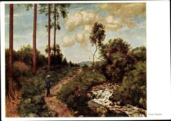 Künstler Ak Thoma, Hans, Der Wanderer, Landschaft