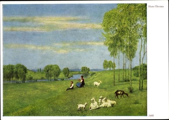 Künstler Ak Thoma, Hans, Hirten mit Ziegen auf der Wiese, Frühlingslandschaft, Ackermann 3408