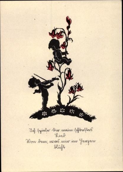 Scherenschnitt Ak Engel spielt Geige, Blume
