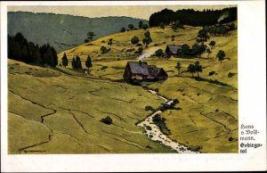 Künstler Ak Volkmann, Hans von, Gebirgstal, Landschaft, Haus, Fluss