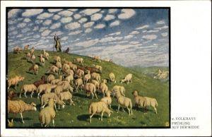 Künstler Ak Volkmann, Hans von, Frühling auf der Weide, Schäfer mit Herde