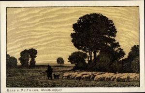 Künstler Ak Volkmann, Hans von, Abendlandschaft, Schäfer mit Herde