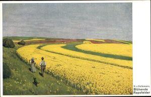 Künstler Ak Volkmann, Hans von, Blühende Rapsfelder, Bauern