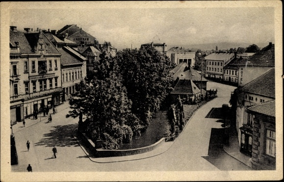 Ak Chrudim Reg. Pardubice, Straßenpartie, Hotel