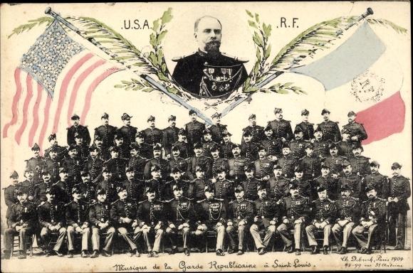 Ak Musique de la Garde Republicaine a Saint Louis, USA, RF, französische Soldaten