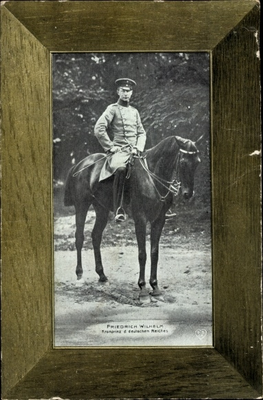 Ak Kronprinz Friedrich Wilhelm von Preußen zu Pferde, Rahmenpostkarte mit Aufstellvorrichtung