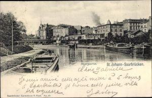 Ak St. Johann Saarbrücken im Saarland, Saarpartie, Binnenschiffe, Stadtbild