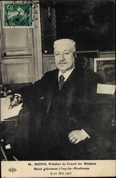 Ak M. Monis, Président du Conseil des Ministres, Blessé grièvement à Issy les Moulineaux 1911