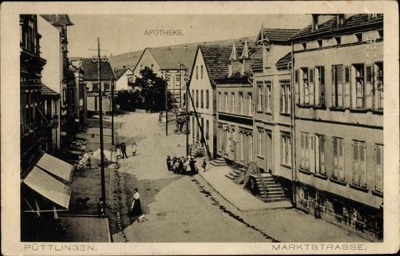 Ak Püttlingen Saarland, Marktstraße, Apotheke