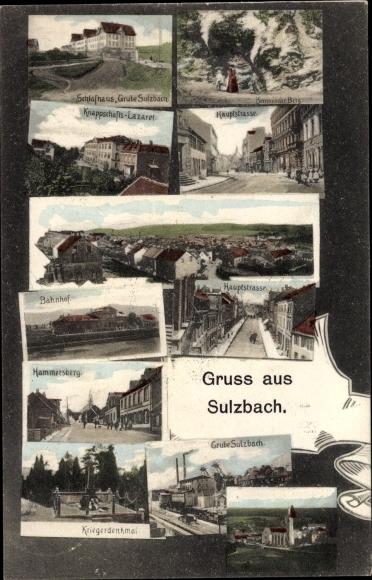 Ak Sulzbach im Saarland, Schlafhaus Grube Sulzbach, Knappschaftslazarett, Hauptstraße