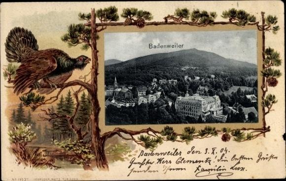 Präge Passepartout Ak Badenweiler am Schwarzwald, Auerhahn
