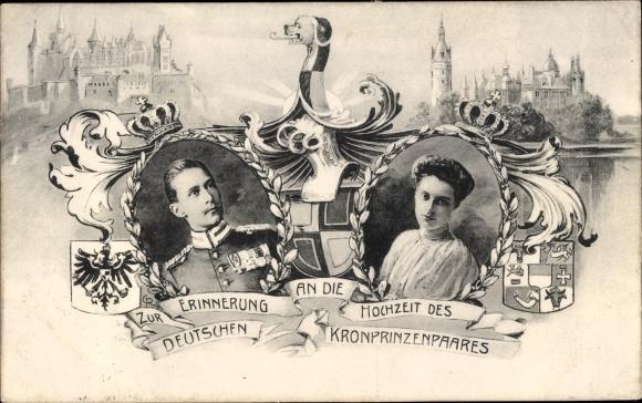 Wappen Passepartout Ak Deutsches Kronprinzenpaar, Kronprinz Wilhelm, Cecilie, Hochzeit