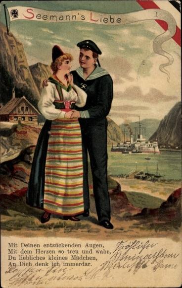 Litho Norwegen, Seemannsliebe, Matrose mit Norwegerin in Tracht, Kaiserliche Marine