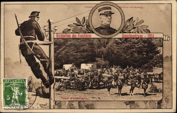 Passepartout Ak Schweiz, Occupation des Frontières, Train d'Infanterie, Grenzbesetzung 1914