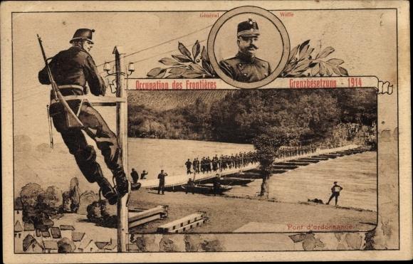 Passepartout Ak Schweiz, Occupation des Frontières, Pont d'Ordonnance, Grenzbesetzung 1914