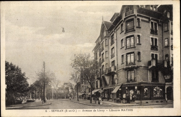 Ak Sevran Seine Saint Denis, Avenue de Livry, Librairie Mathis