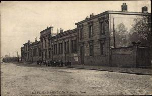 Ak La Plaine Saint Denis Seine Saint Denis, Les Écoles, vue du face, Groupe d'écoliers