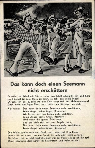 Lied Ak Das kann doch einen Seemann nicht erschüttern, Ziehharmonika, Seeleute