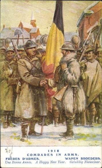 Künstler Ak Comrades in Arms 1918, Freres d'Armes, Belgische Soldaten