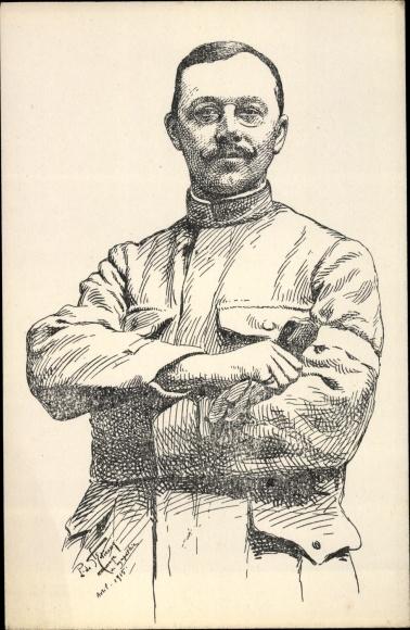 Künstler Ak Französischer Soldat in Uniform, Portrait