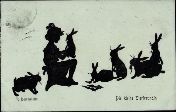 Scherenschnitt Künstler Ak Borrmeister, R., Die kleine Tierfreundin, Mädchen, Hasen