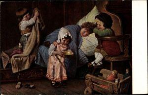 Künstler Ak Kaulbach, Hermann, Der eingebildete Kranke, Kinder