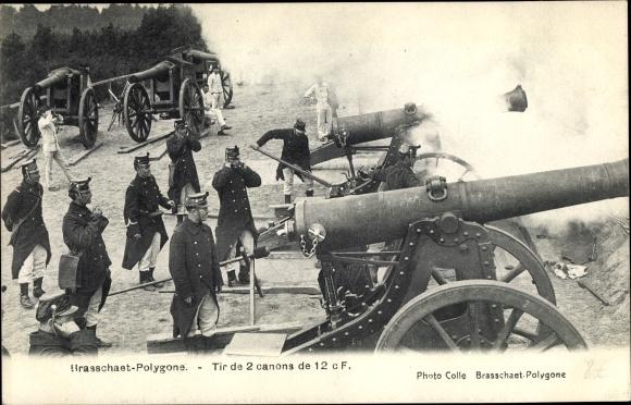 Ak Brasschaet Polygone, belgische Soldaten, Geschütze