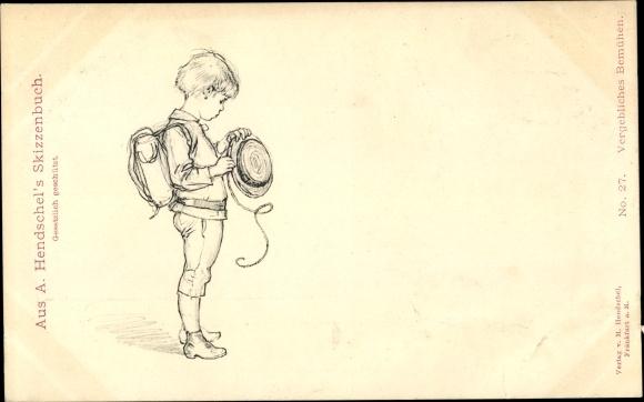 Künstler Ak Hendschel, A., Vergebliches Bemühen, Junge mit Strohhut, Schulranzen