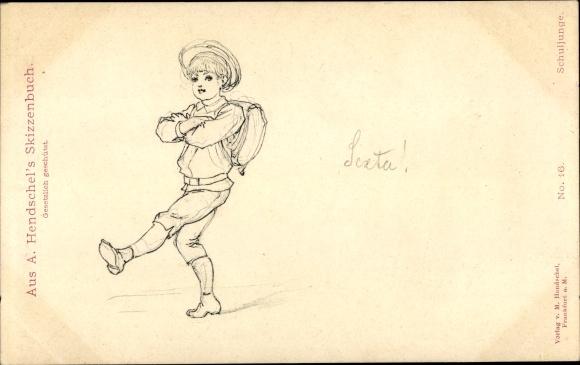 Künstler Ak Hendschel, A., Schuljunge
