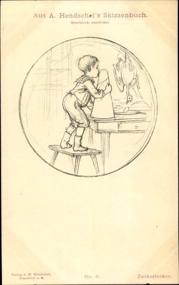 Künstler Ak Hendschel, A., Zuckerlecker, Junge