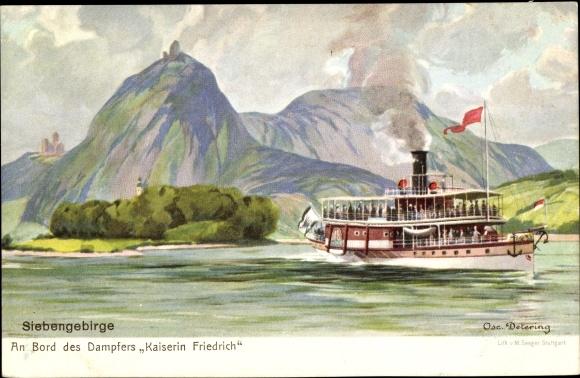 Künstler Ak Detering, Osc., Dampfer Kaiserin Friedrich auf dem Rhein, Siebengebirge