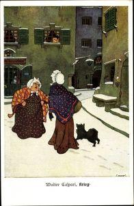 Künstler Ak Caspari, Walter, Krieg, streitende Frauen, Hund