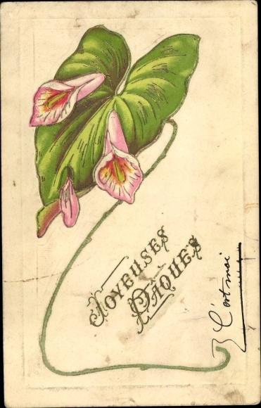 Präge Ak Glückwunsch Ostern, Blüten und Blatt