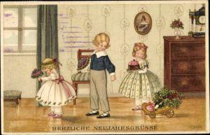 Künstler Ak Ebner, Pauli, Glückwunsch Neujahr, Kinder mit Blumen, Kuchen