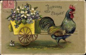 Präge Gold Ak Glückwunsch Ostern, Hahn mit Blumenfuhre, Vergissmeinnicht