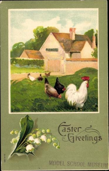 Präge Ak Glückwunsch Ostern, Hühner und Hahn auf Wiese, Glockenblumen