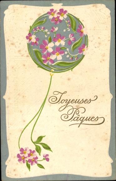 Präge Ak Glückwunsch Ostern, Ballon aus Blumen