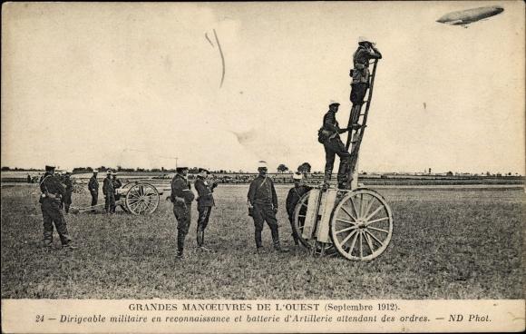 Ak Dirigeable militaire en reconnaissance et batterie d'Artillerie, Zeppelin