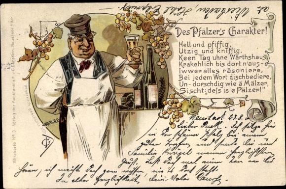 Künstler Litho Winzer mit Weinglas, Weinflasche, Weinreben, Gedicht Des Pfälzer's Charakter