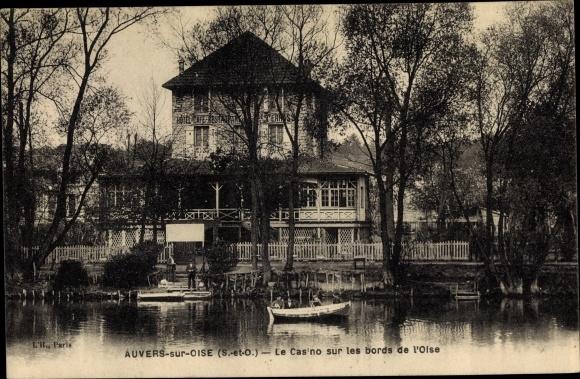 Ak Auvers sur Oise Val d'Oise, Le Casino sur les bords de l'Oise