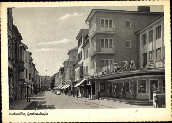 Ak Eschweiler in Nordrhein Westfalen, Partie in der Grabenstraße, Primus Palast, Kino